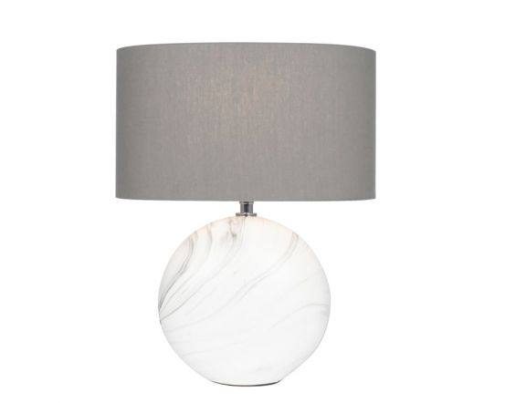 Marble Effect Ceramic Table Lamp with Grey Shade