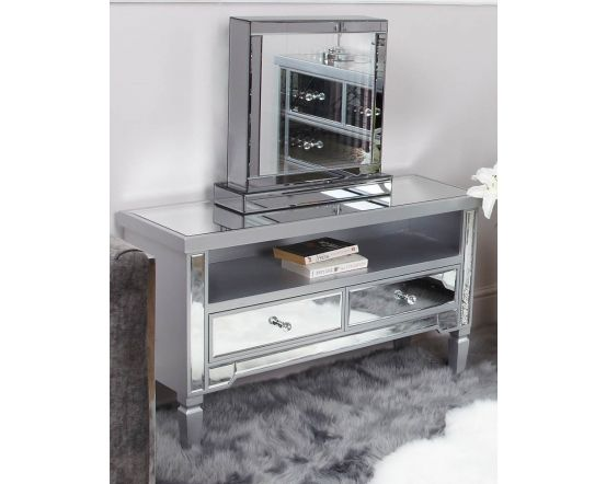 Maria Silver Wood and Mirrored 2 Drawer TV Unit