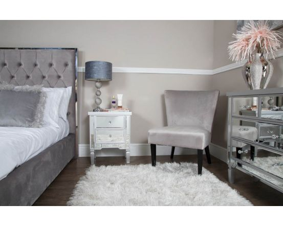 Maria Silver Wood and Mirrored Bedside Cabinet
