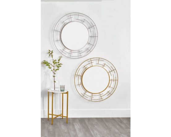 Marion Silver Metal Frame Round Wall Mirror