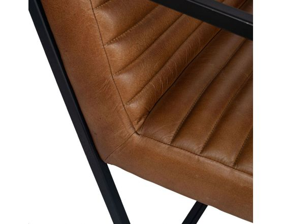 Masey Natural Brown Leather and Iron Arm Chair