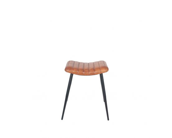 Masey Vintage Brown Leather and Iron Curved Stool