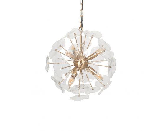 Matrix Glass and Gold Round Organic Pendant