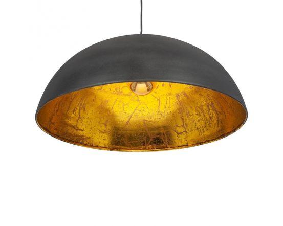Matt Black and Gold Leaf Dome Pendant