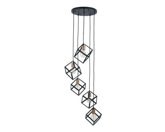 Matt Black Metal Five Cube/Bulb Pendant