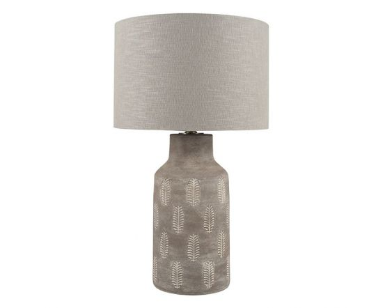 Matt Grey Fern Style Leaf Design Table Lamp - Base Only