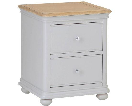 Mendes Soft Grey 2 Drawer Bedside Cabinet
