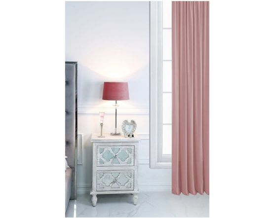 Metal and Glass Table Lamp with Pink Velvet Shade