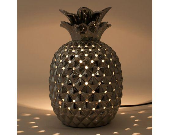 Metallic Silver Ceramic Pineapple Table Lamp
