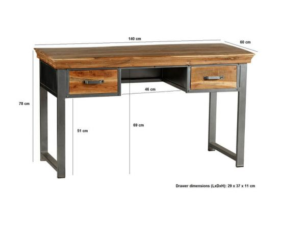 Metro Industrial 2 Drawer Home Desk