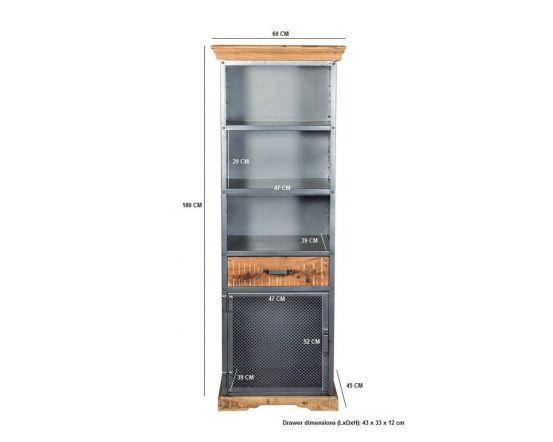 Metro Industrial Narrow 3 Shelf Bookcase