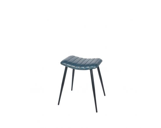 Mia Prussian Blue Leather and Iron Curved Stool
