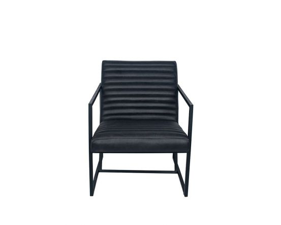 Mica Steel Grey Leather and Iron Arm Chair