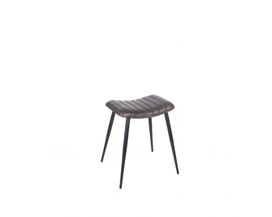 Mica Steel Grey Leather and Iron Curved Stool