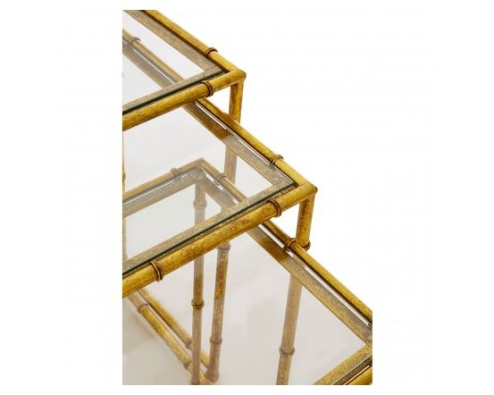 Miguel Gold Finish Steel Nesting Tables