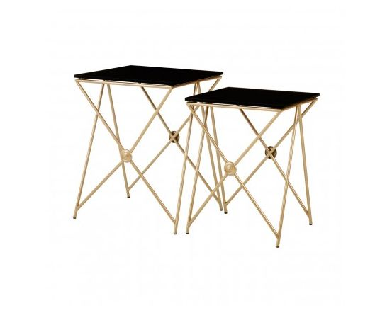Miguel Gold Finish Steel Side Tables