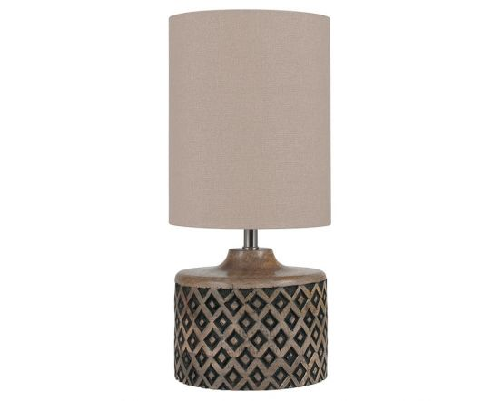 Mini Base Wooden Diamond Carved Table Lamp