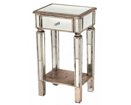 Mirrored Antique/Distressed 1 Drawer Side Table