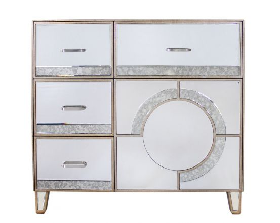 Mirrored Antique Gatsby 4 Drawer and 1 Door Cabinet