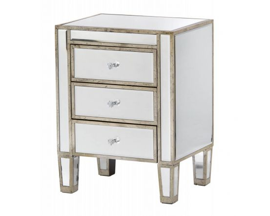 Mirrored Antique Silver 3 Drawer Venetian Bedside Cabinet