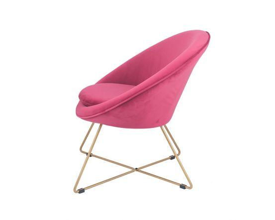 Mito Raspberry Velvet Retro Chair with Gold Metal Legs