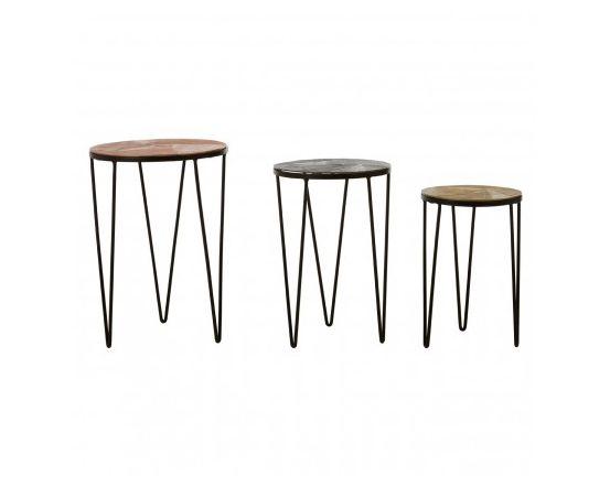 Miza Set of 3 Aluminium Side Tables