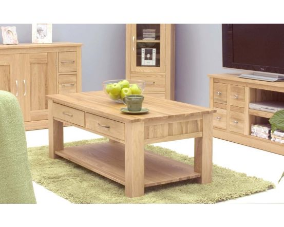 Modern Light Oak Four Drawer Coffee Table