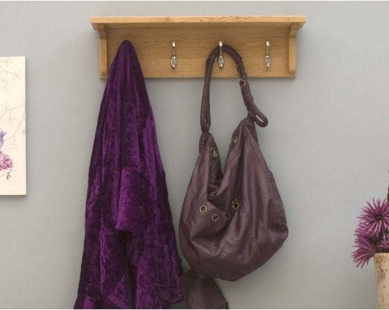 Modern Light Oak Wall Mounted Coat Rack