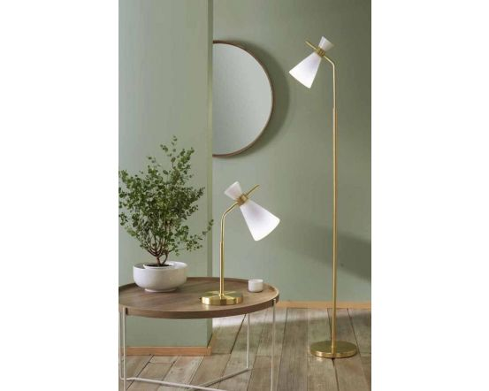 Modern Mia White Glass and Gold Metal Table Lamp