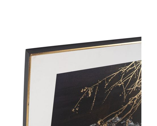 Monochrome Tiger Print with Gold Leaf Detail and Black Frame