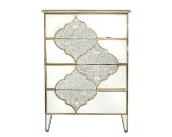 Morocco Mirrored 4 Drawer Chest Of Drawers