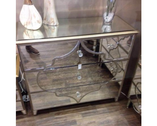 Morocco Mirrored Large 3 Drawer Chest of Drawers