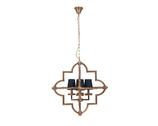 Moroccan Antique Brass Metal Four Shade Pendant