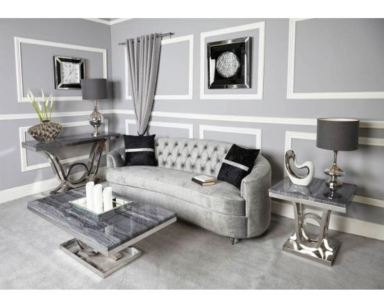 Neptune Grey Marble Side Table