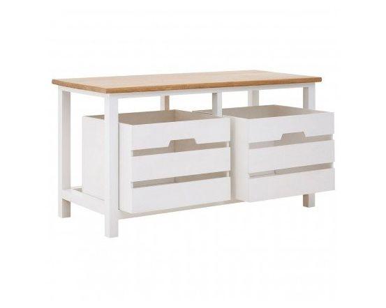 Newport White Slatted 2 Drawer Bench