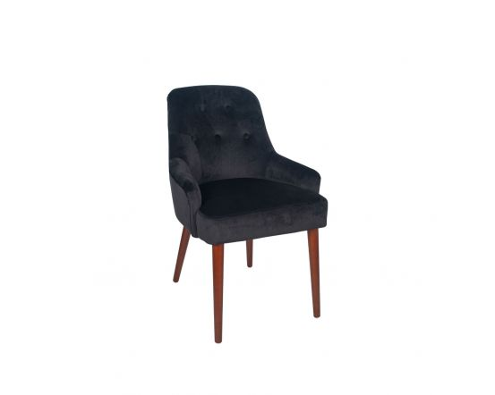 Nicu Black Velvet Armed Tufted Dining Chair Walnut Finished Legs