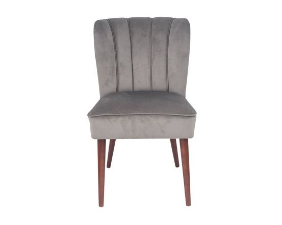 Nica Dove Grey Velvet Dining Chair Walnut Finished Legs