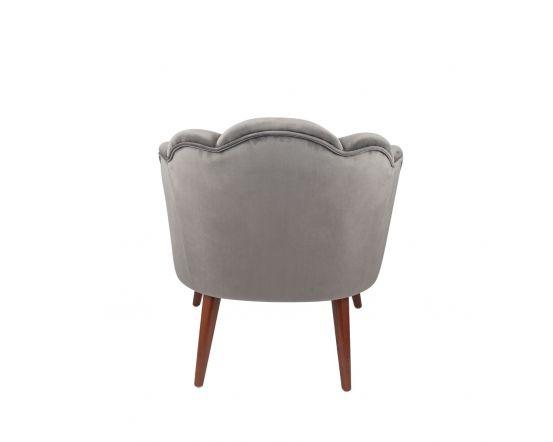 Nico Dove Grey Velvet Shell Chair Walnut Finished Legs