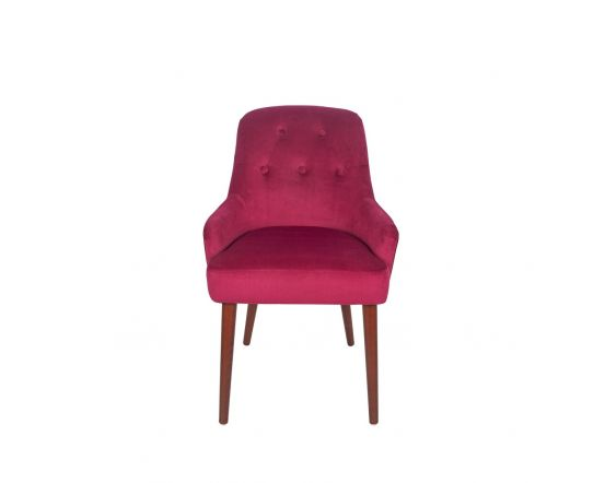 Nicu Pink Velvet Tufted Dining Chair Walnut Finished Legs