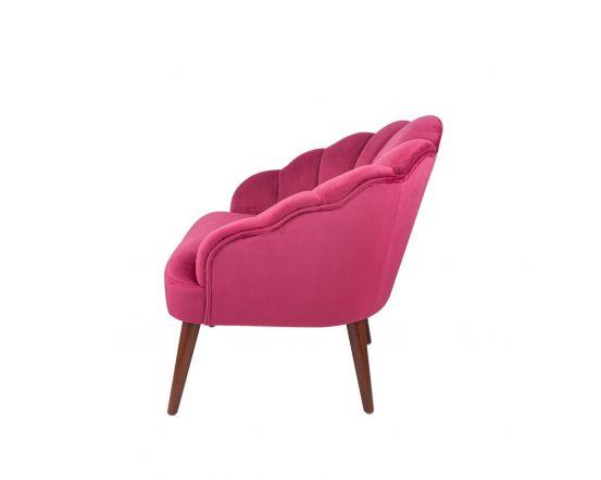 Nico Pink Velvet Shell Chair Walnut Finished Legs
