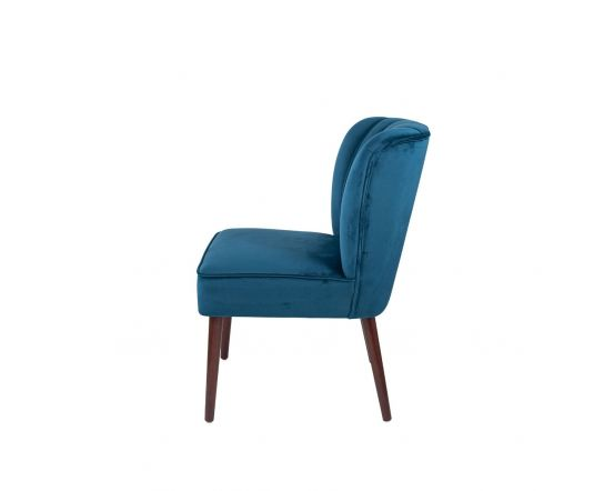 Nica Blue Dining Chair Walnut Finished Legs