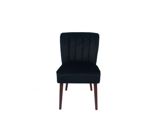 Nica Black Velvet Dining Chair Walnut Finished Legs