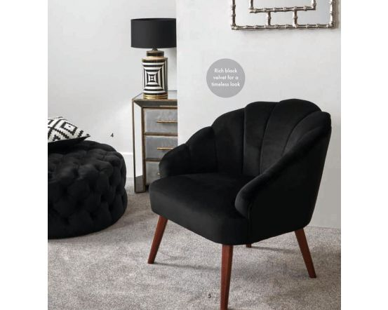 Nico Black Velvet Shell Chair with Walnut Finished Legs