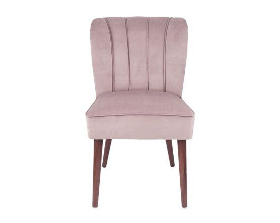 Nica Blush Pink Velvet Dining Chair Walnut Finished Legs