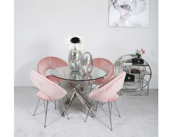 Nora 130cm Round Dining Set with 4 Pink Chairs
