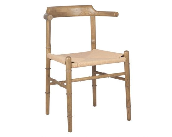 Oak Finished Elm Wood and Bamboo Weathered Chair