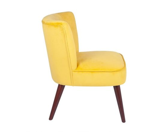 Ochre Yellow Velvet Cocktail Chair with Walnut Finished Legs