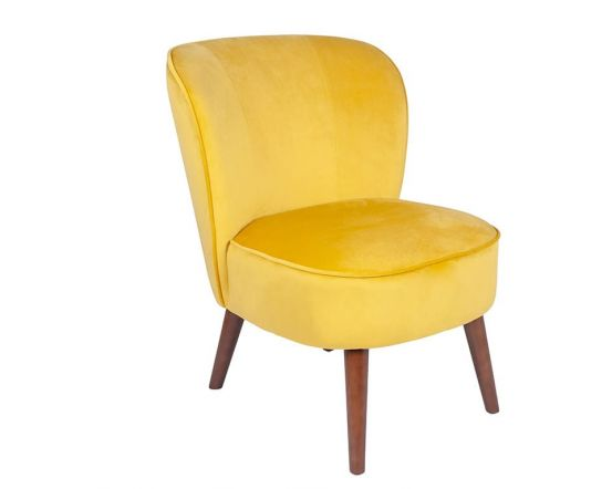 Ochre Yellow Velvet Narrow Chair with Walnut Finished Legs