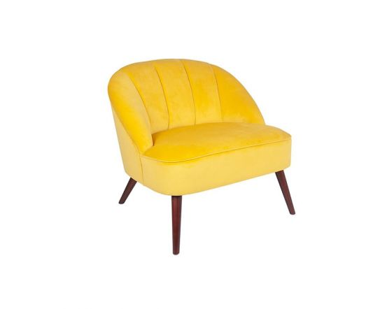 Ochre Yellow Velvet Wide Chair with Walnut Finished Legs