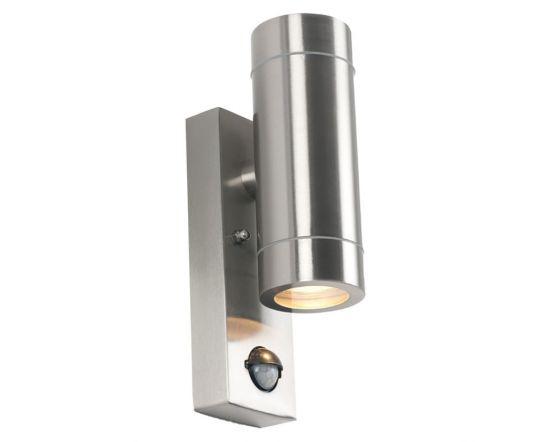 Outdoor Brushed Steel Metal Dual PIR Wall Light